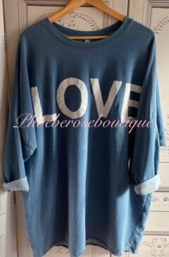 'LOVE' Logo Denim Lightweight Longline Sweat Top
