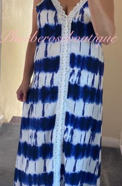 Lux Crochet Strap and Front Tie dye Dress - Navy