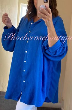 Slouch Fit Cheesecloth Gathered Back Shirt - Royal Blue