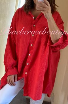 Slouch Fit Cheesecloth Gathered Back Shirt - Coral/Red