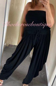 Lux Bandeau Loose Fit Jumpsuit - Black